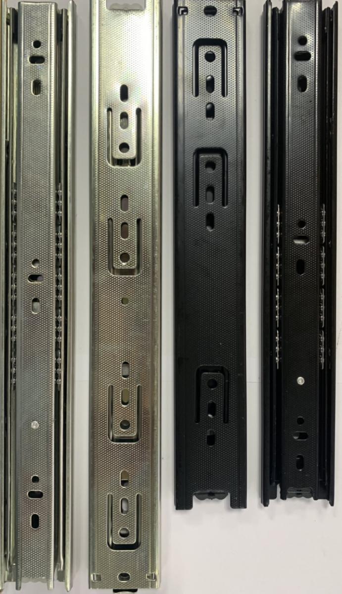 Ray trượt bi 3 tầng dầy 1.0x1.0x1.0mm màu đen, xi zinc  bản 45